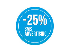 Buono sconto 25% su  una campagna di sms  Advertising